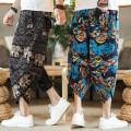 Casual pants Others Youth fashion 5XL,4XL,3XL,2XL,XL,L,M routine Cropped Trousers sandy beach easy No bullet summer youth Chinese style 2021 Medium low back Little feet Haren pants printing No iron treatment Geometric pattern Terry cloth hemp Cotton and hemp Less than 30%