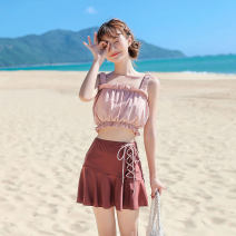 Split swimsuit The waves of the sea Apricot white pink Skirt split swimsuit With chest pad without steel support Nylon spandex polyester Summer of 2019 no female square neck Sleeveless