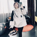 Women's large Spring 2021 Navy, off white Large XL, large XXL, large XXL, large 4XL, large 5XL Other oversize styles singleton  commute easy moderate Socket Long sleeves other Korean version Hood routine Cotton, others routine 25-29 years old pocket zipper