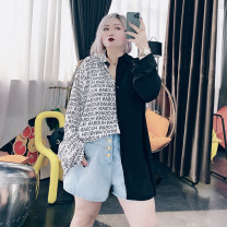 Women's large Spring 2021, summer 2021 Black, white Big 4XL, big 5XL, big 6xl shirt singleton  commute easy moderate Cardigan Long sleeves Others, letters Korean version other Medium length Others, cotton Three dimensional cutting routine 25-29 years old Button