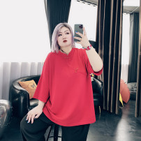 Women's large Spring 2021 Black, red Large XL, large XXL, large XXL Knitwear / cardigan singleton  commute easy moderate Socket three quarter sleeve Solid color Korean version Crew neck routine Others, cotton Three dimensional cutting routine LT2815 25-29 years old Button