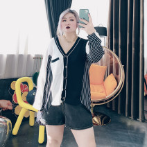 Women's large Summer 2020, spring 2021 black Large XL, large XXL, large XXL shirt singleton  commute easy moderate Cardigan Long sleeves stripe Korean version Polo collar routine cotton routine 25-29 years old