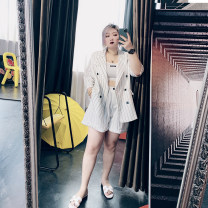 Women's large Spring 2021, summer 2021 White suit, white shorts Large XL, large XXL, large XXL, large 4XL Other oversize styles Two piece set commute easy moderate Cardigan Long sleeves stripe Korean version other routine Others, cotton Three dimensional cutting other RQN7650+N7650-1 25-29 years old