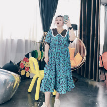 Women's large Spring 2021, summer 2021 Large XL, large XXL, large XXL, large 4XL Dress singleton  commute easy moderate Conjoined Short sleeve other Korean version other Cotton, others printing and dyeing routine 25-29 years old Medium length other