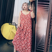 Women's large Spring 2021, summer 2021 Red flower Large XL, large XXL, large XXL, large 4XL, large 5XL Dress singleton  commute easy thin Socket Sleeveless Broken flowers Korean version other Others, cotton 25-29 years old longuette other