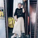 Women's large Spring 2021, summer 2021 Black, grey, apricot Large XL, large XXL, large XXL skirt singleton  commute easy thin Solid color Korean version Others, cotton 25-29 years old Nail bead Medium length other