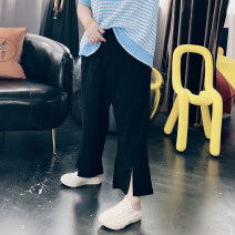 Women's large Spring 2021 black Large XL, large XXL, large XXL, large 4XL, large 5XL trousers singleton  commute easy moderate Solid color Korean version Crew neck routine Others, cotton Three dimensional cutting other 25-29 years old Ninth pants