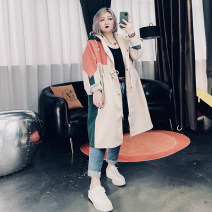 Women's large Spring 2021 Black, Khaki Large XL, large XXL, large XXL, large 4XL Windbreaker singleton  commute easy moderate Cardigan Long sleeves other Korean version Hood Medium length Cotton, others Three dimensional cutting routine 25-29 years old pocket