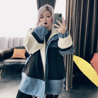 Women's large Spring 2021 Haze blue, milk tea apricot, taro purple Large XL, large XXL, large XXL, large 4XL Jacket / jacket singleton  commute easy moderate Cardigan Long sleeves Solid color Korean version Hood routine Cotton, others routine 25-29 years old
