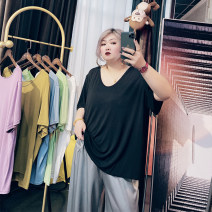 Women's large Summer 2020, spring 2021 Black, blue, green, purple, brown, beige Large XL, large XXL, large XXL, large 4XL, large 5XL T-shirt singleton  commute easy moderate Socket Short sleeve Solid color Korean version Crew neck routine routine 25-29 years old