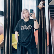 Women's large Spring 2021, summer 2021 Black, white Large XL, large XXL, large XXL, large 4XL T-shirt singleton  commute easy moderate Socket Short sleeve other Korean version Crew neck routine Cotton, others Three dimensional cutting routine ST6256 25-29 years old Nail bead