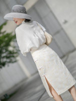 skirt Summer 2020 S,M,L,XL White, blue Mid length dress grace low-waisted other Decor Type H 35-39 years old More than 95% interface polyester fiber Embroidery