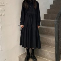 Dress Spring 2021 Average size Mid length dress singleton  Long sleeves commute Polo collar High waist Solid color 18-24 years old Korean version 81% (inclusive) - 90% (inclusive) cotton