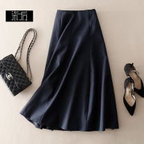 skirt Spring 2021 M,XL,S,L navy blue Mid length dress Versatile High waist Umbrella skirt Solid color Type A More than 95% wool