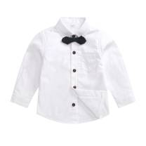 shirt White double layer velvet (including mail to bow tie), white single (including mail to bow tie) Other / other male 73cm,80cm,90cm,100cm,110cm,120cm,130cm,140cm Long sleeves Solid color cotton Cotton 100%