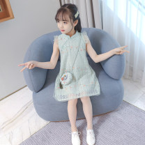 Dress Summer 2020 Green, beige The recommended height is below 100 for Size 110, below 110 for Size 120, below 120 for Size 130, below 130 for size 140, below 140 for size 150, and below 150 for size 160 Middle-skirt singleton  Sleeveless commute other middle-waisted other Socket Princess Dress other