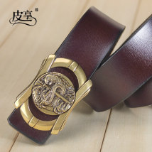 Belt / belt / chain Double skin leather Coffee + silver button black + silver button male belt leisure time Single loop Youth and middle age Smooth button Glossy surface soft surface 3.8cm alloy alone Pixiang LU732 105cm110cm115cm120cm125cm Spring / summer 2018