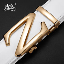 Belt / belt / chain Double skin leather White black male belt Simplicity Single loop youth Automatic buckle Glossy surface Glossy surface 3.5cm alloy alone Pixiang ZD133CC 105cm110cm115cm120cm125cm Spring / summer 2018