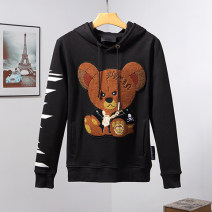 Sweater Youth fashion Piplan black M,L,XL,2XL,3XL Animal design Socket routine Hood autumn Straight cylinder leisure time youth tide routine Fleece  cotton Embroidery No iron treatment More than 95%