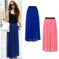 skirt Summer 2013 Average [clearance processing], delivery on the same day longuette street Pleated skirt Solid color Chiffon LIVA GRIL Europe and America