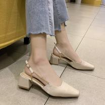 Sandals 35,36,37,38,39 Black, beige, black upgrade, beige upgrade PU Other / other Square head Thick heel Middle heel (3-5cm) Summer 2021 Trochanter Korean version Solid color Adhesive shoes Youth (18-40 years old) rubber banquet Back space Buckle, thick heel, shallow mouth Low Gang Hollow PU PU