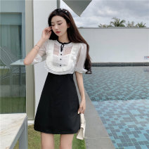 Dress Summer 2021 Picture color S,M,L Short skirt singleton  Short sleeve Sweet Crew neck middle-waisted Solid color Socket A-line skirt puff sleeve Others 18-24 years old Type A Frenulum D0402 More than 95% Chiffon other