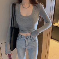 T-shirt Gray, white, black Average size Spring 2021 Long sleeves Crew neck Self cultivation have cash less than that is registered in the accounts routine commute other 51% (inclusive) - 70% (inclusive) 18-24 years old Korean version Solid color C0113