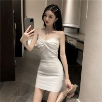 Dress Summer 2020 White, black Average size Short skirt singleton  Sleeveless commute V-neck High waist Solid color zipper One pace skirt camisole 18-24 years old Type A Korean version fold nylon