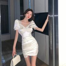 Dress Summer 2021 White, black S,M,L Short skirt singleton  Short sleeve commute square neck High waist Solid color zipper routine 18-24 years old Type H Korean version zipper b0407 Silk and satin