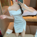 Dress Summer 2021 White, black S,M,L Short skirt singleton  Short sleeve commute One word collar High waist Solid color Socket A-line skirt routine camisole 18-24 years old Type A Korean version fold A0401 31% (inclusive) - 50% (inclusive) other cotton