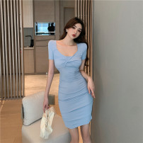 Dress Summer 2021 Light blue, black S,M,L Short skirt singleton  Short sleeve Sweet square neck Solid color A-line skirt routine Others 18-24 years old Type A D0330 cotton