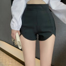 Casual pants black S,M,L,XL Autumn 2020 shorts loose  High waist commute routine 18-24 years old Korean version Asymmetry