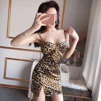 Dress Spring 2020 Black, leopard print S,M,L Short skirt singleton  commute High waist Leopard Print Socket Pencil skirt camisole 18-24 years old Type A Other / other Retro
