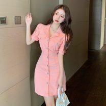 Dress Summer 2021 White, black, pink S,M,L Short skirt singleton  Short sleeve commute Polo collar High waist Solid color Single breasted A-line skirt puff sleeve 18-24 years old Type A literature C0314 other