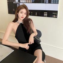 Dress Summer 2021 black Average size Middle-skirt Sleeveless commute High waist Solid color Socket A-line skirt 18-24 years old Korean version