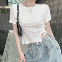 T-shirt Gray, white, black Average size Summer 2021 Short sleeve Crew neck Self cultivation have cash less than that is registered in the accounts routine commute polyester fiber 51% (inclusive) - 70% (inclusive) 18-24 years old Korean version Solid color C0328 Pleating