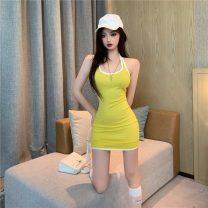 Dress Summer 2020 Yellow, black S,M,L Short skirt singleton  Sleeveless commute Crew neck High waist A-line skirt camisole 18-24 years old Type A Korean version