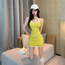 Dress Summer 2020 Yellow, black S,M,L Short skirt singleton  Sleeveless commute Crew neck High waist A-line skirt camisole 18-24 years old Type A Korean version