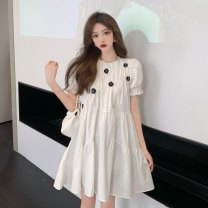 Dress Summer 2021 white Average size Middle-skirt singleton  Short sleeve Sweet Crew neck High waist Solid color Socket A-line skirt puff sleeve Others 18-24 years old Type A fold A0401