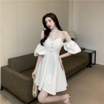 Dress Spring 2021 White, black S,M,L Short skirt singleton  Short sleeve commute Solid color A-line skirt Hanging neck style 18-24 years old Type A D0411