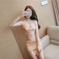 Dress Summer 2020 Picture color S,M,L,XL Short skirt singleton  Sleeveless commute Crew neck High waist Decor Socket camisole 18-24 years old Type H Korean version Sequins #0611
