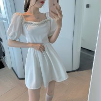 Dress Summer 2021 White, black S, M Short skirt singleton  Short sleeve commute square neck Solid color puff sleeve Others 18-24 years old Type A court D0329