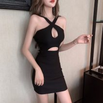 Dress Spring 2020 White, black Average size Short skirt singleton  Sleeveless commute other High waist Solid color Socket One pace skirt other Hanging neck style 18-24 years old Type H Korean version Hollowing out