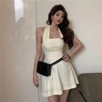 Dress Winter 2020 Apricot S,M,L Short skirt singleton  Sleeveless commute One word collar High waist Solid color Socket A-line skirt Hanging neck style 18-24 years old Type A Korean version Bow, tie C1228
