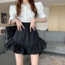 skirt Spring 2021 S, M White, black Short skirt commute High waist Pleated skirt Type A 18-24 years old b0317 Korean version