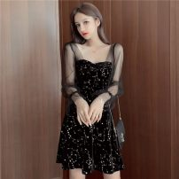 Dress Spring 2020 black S,M,L,XL Short skirt singleton  Long sleeves commute square neck High waist zipper A-line skirt 18-24 years old Other / other Korean version Splicing