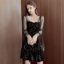 Dress Spring 2020 black S,M,L,XL Short skirt singleton  Long sleeves commute square neck High waist zipper A-line skirt 18-24 years old Other / other Korean version Splicing
