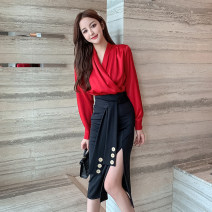 Fashion suit Autumn 2020 S,M,L,XL Red jacket, green jacket, white jacket, black skirt, champagne jacket 18-25 years old