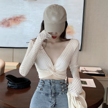 Lace / Chiffon Spring 2020 Black, off white, pink Average size Long sleeves commute Socket singleton  Self cultivation Super short V-neck routine 18-24 years old Korean version