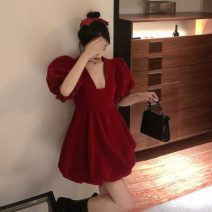 Dress Summer 2020 Red, black S,M,L Short skirt singleton  Short sleeve commute square neck High waist Solid color A-line skirt puff sleeve Others 18-24 years old Type A Korean version